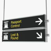 Airport Signs Passport Control Model 3D 3d model