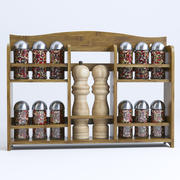 Bamboo Wood Wall Spice Rack 3d model