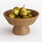 Rattan Fruit Bowl 3d model