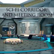 Couloir Sci-Fi et salle de réunion 3d model