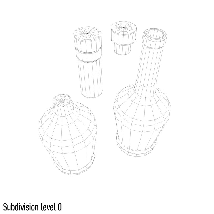 alcohol glass bottle royalty-free 3d model - Preview no. 10