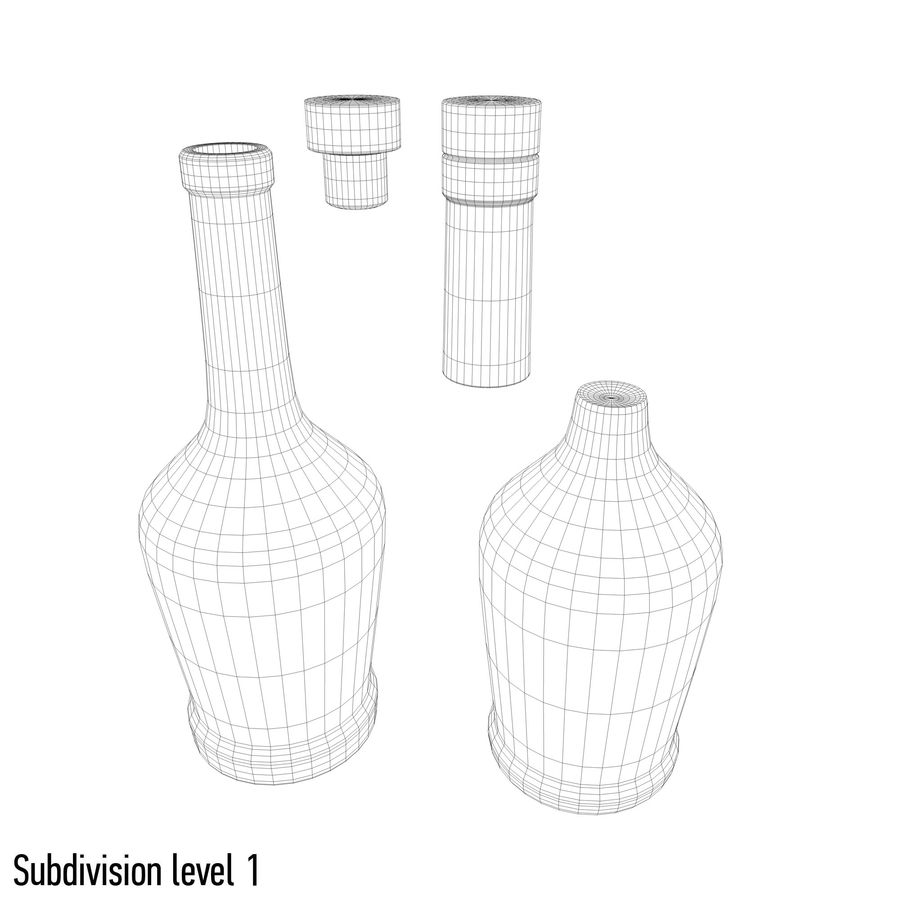 alcohol glass bottle royalty-free 3d model - Preview no. 9
