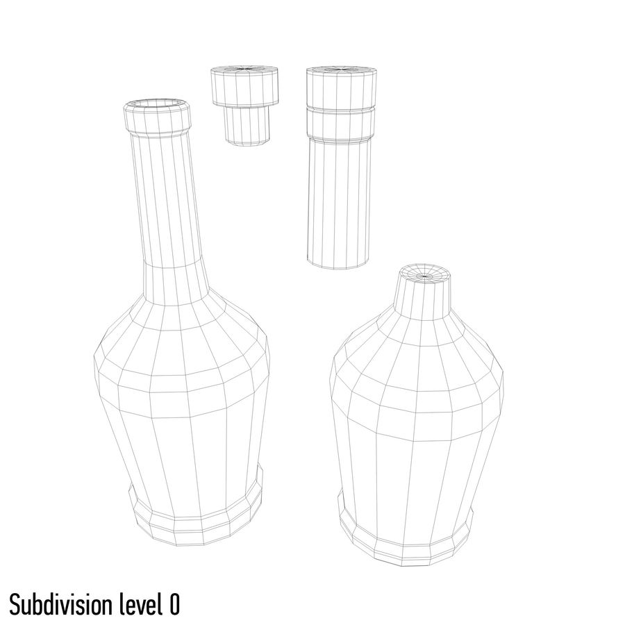 alcohol glass bottle royalty-free 3d model - Preview no. 8