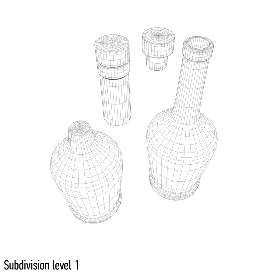 alcohol glass bottle royalty-free 3d model - Preview no. 11