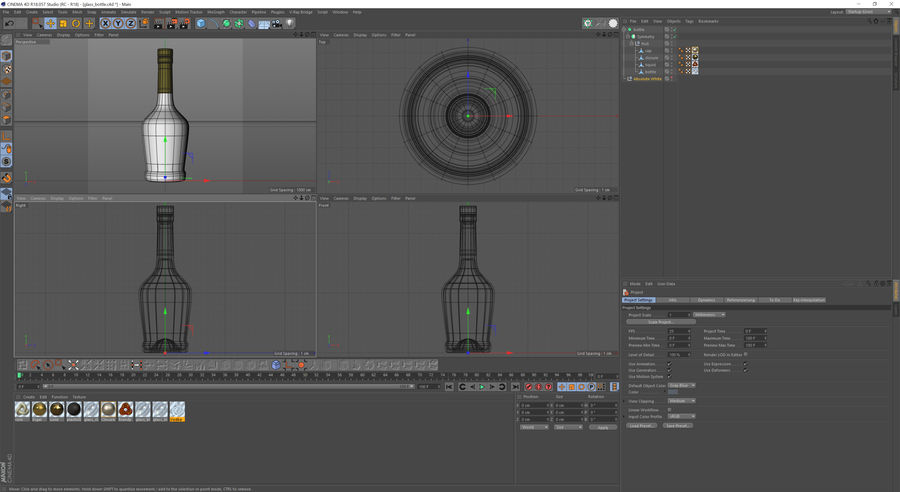 alcohol glass bottle royalty-free 3d model - Preview no. 12