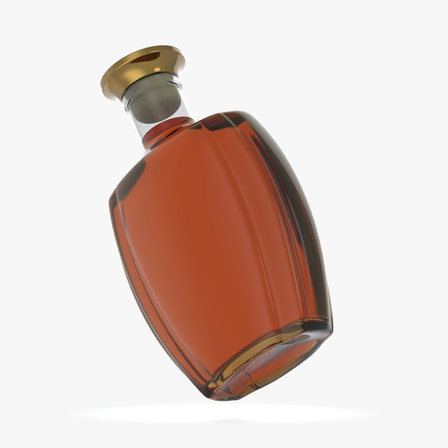 alcohol glass bottle (4) royalty-free 3d model - Preview no. 4