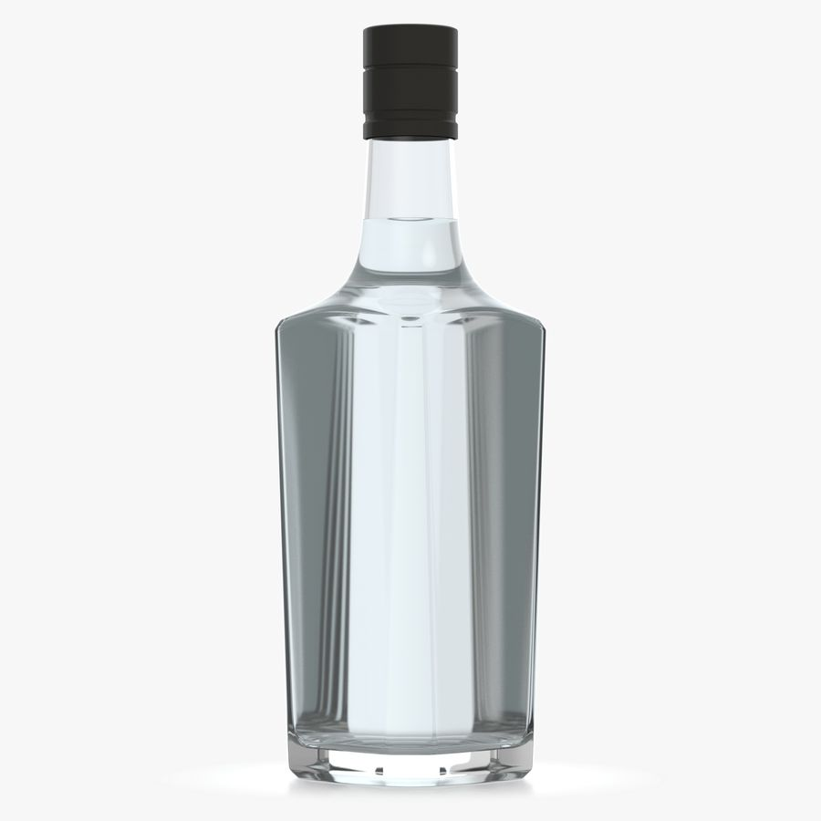 alcohol glass bottle (7) royalty-free 3d model - Preview no. 4