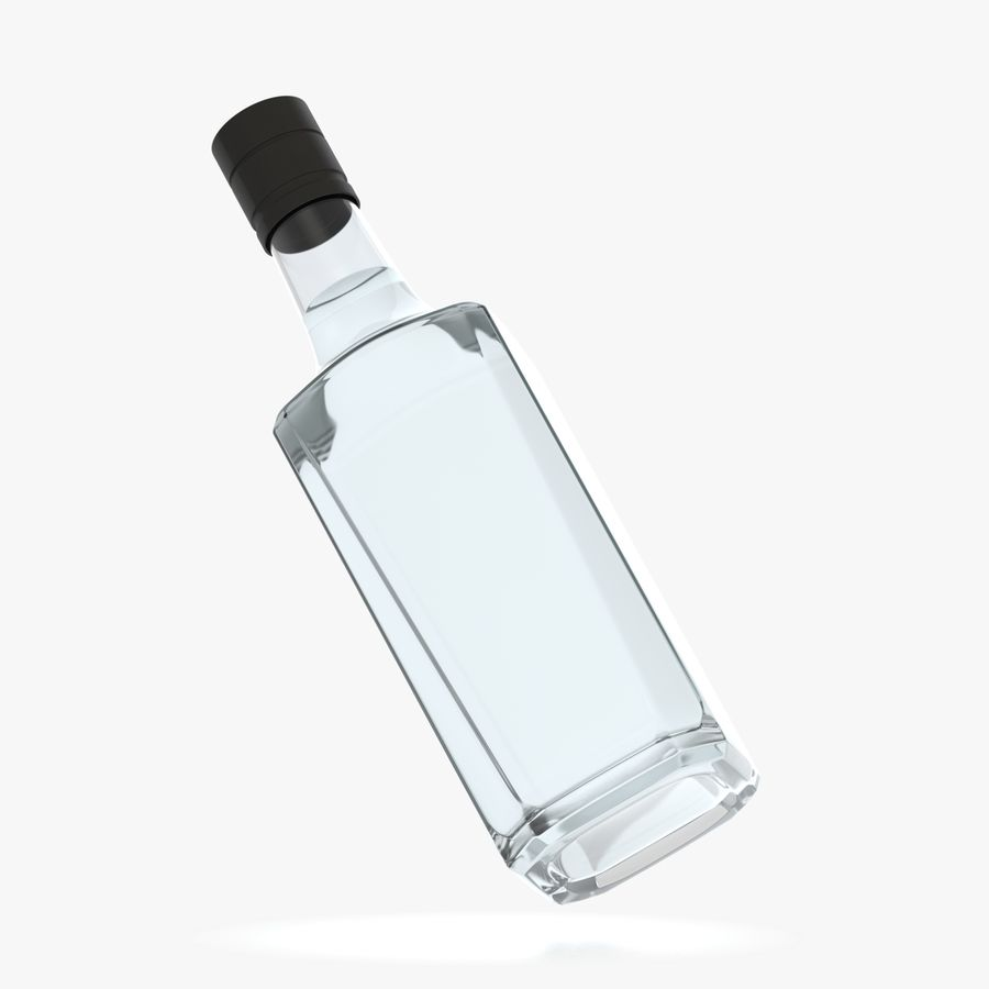 alcohol glass bottle (7) royalty-free 3d model - Preview no. 5
