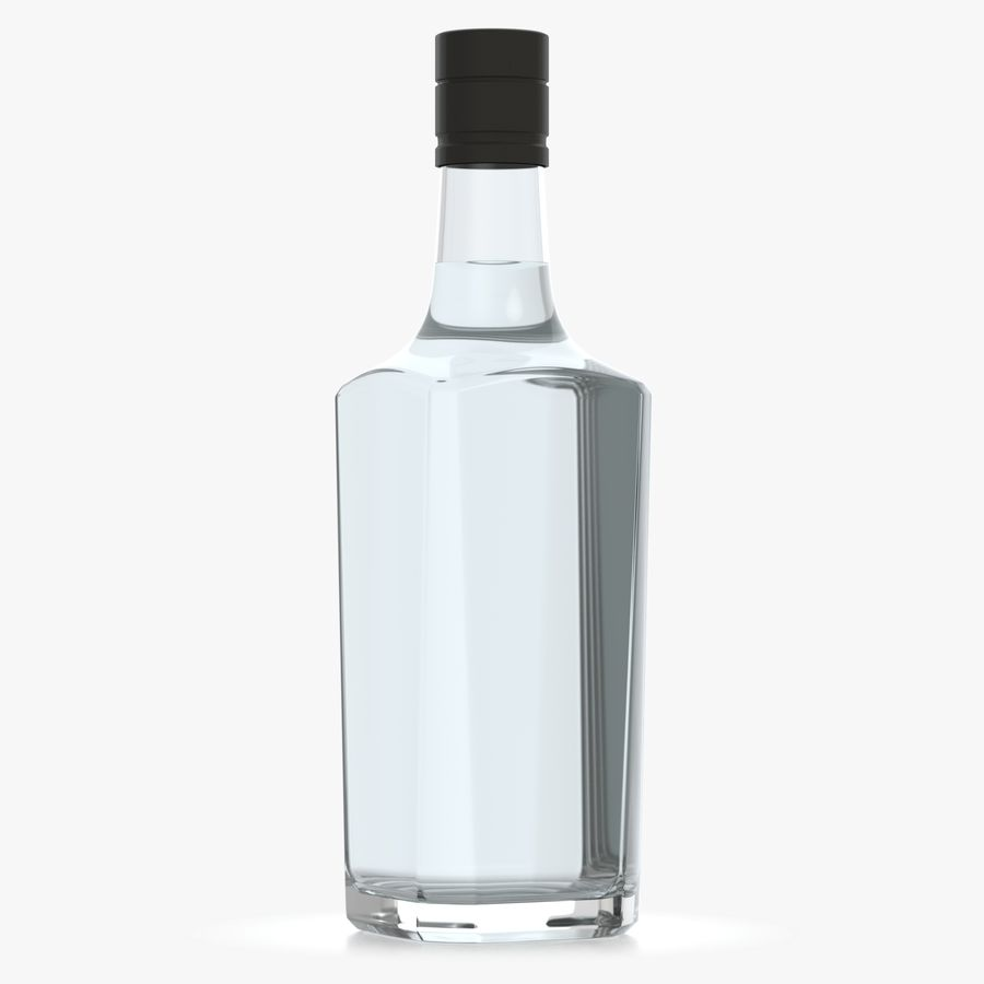 alcohol glass bottle (7) royalty-free 3d model - Preview no. 3