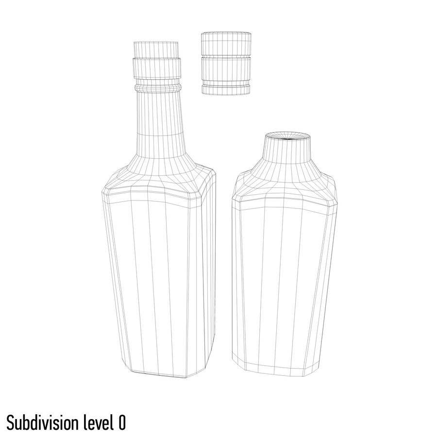 alcohol glass bottle (7) royalty-free 3d model - Preview no. 8