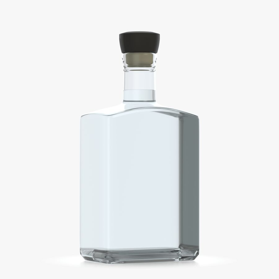 alcohol glass bottle (8) royalty-free 3d model - Preview no. 3