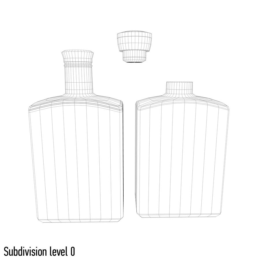 alcohol glass bottle (8) royalty-free 3d model - Preview no. 7