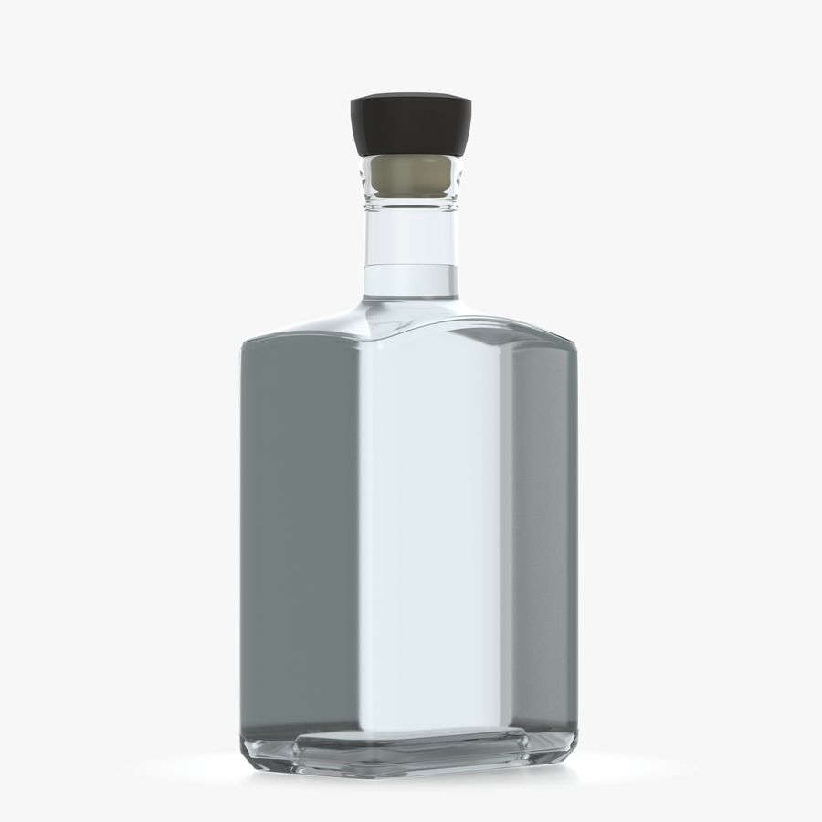 alcohol glass bottle (8) royalty-free 3d model - Preview no. 4