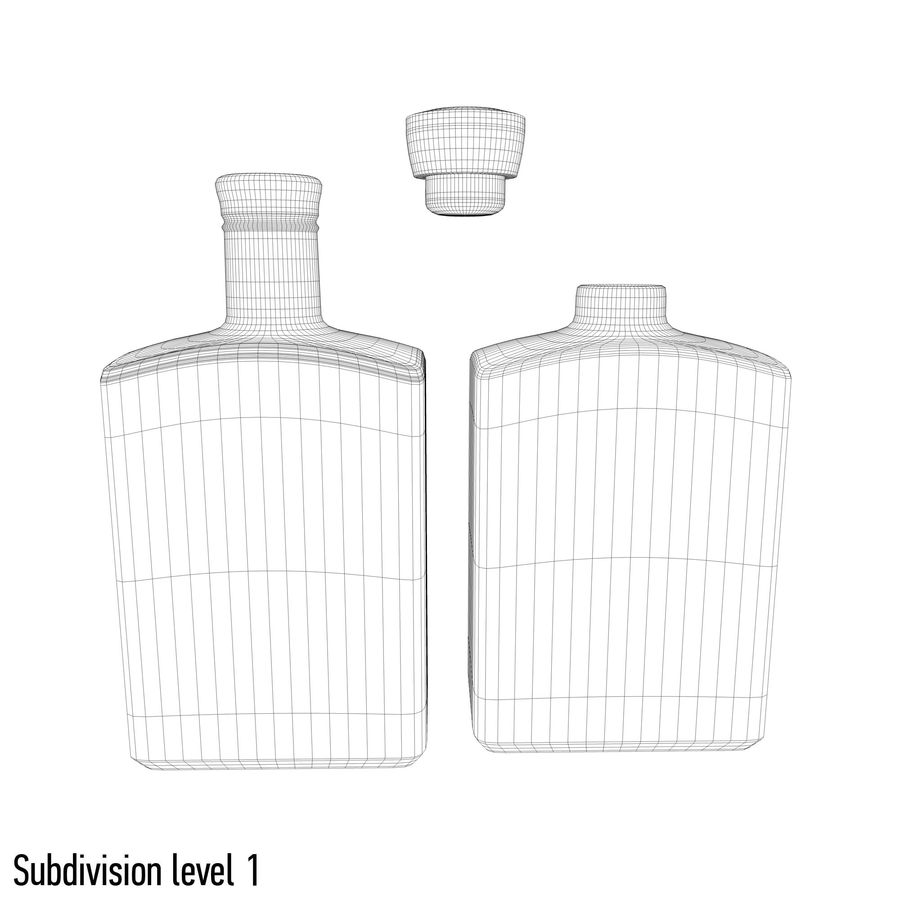 alcohol glass bottle (8) royalty-free 3d model - Preview no. 8