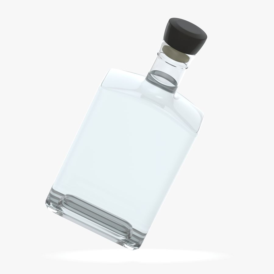 alcohol glass bottle (8) royalty-free 3d model - Preview no. 5