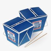 Foodbox and Chopstickss 3d model