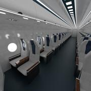 Airplane Economy class cabin interior 3d model