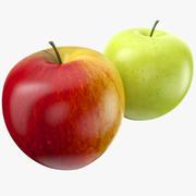 Två äpplen röda och gröna 3d model