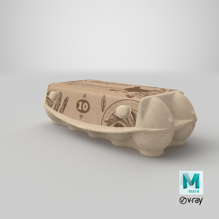 Ten Eggs Carton Package Closed royalty-free 3d model - Preview no. 27