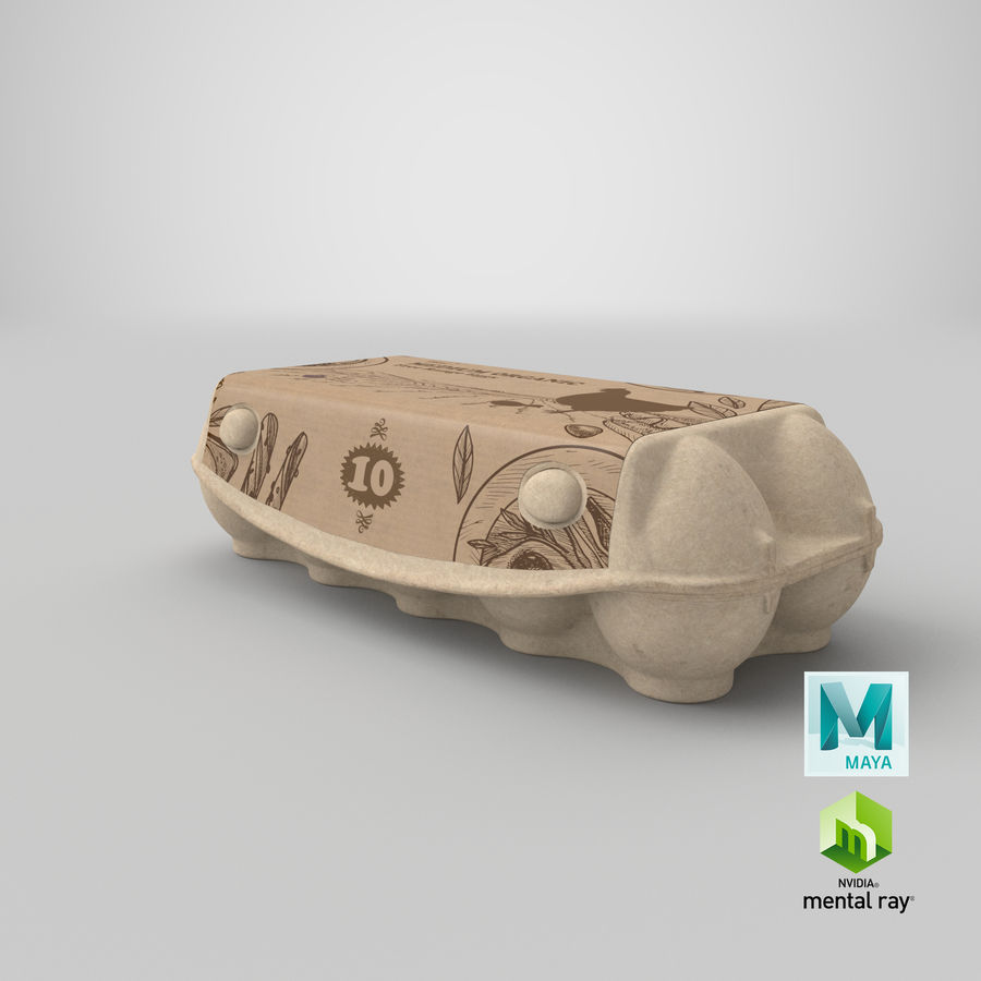 Ten Eggs Carton Package Closed royalty-free 3d model - Preview no. 26