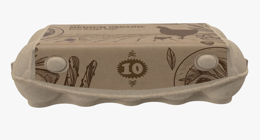 Ten Eggs Carton Package Closed royalty-free 3d model - Preview no. 3