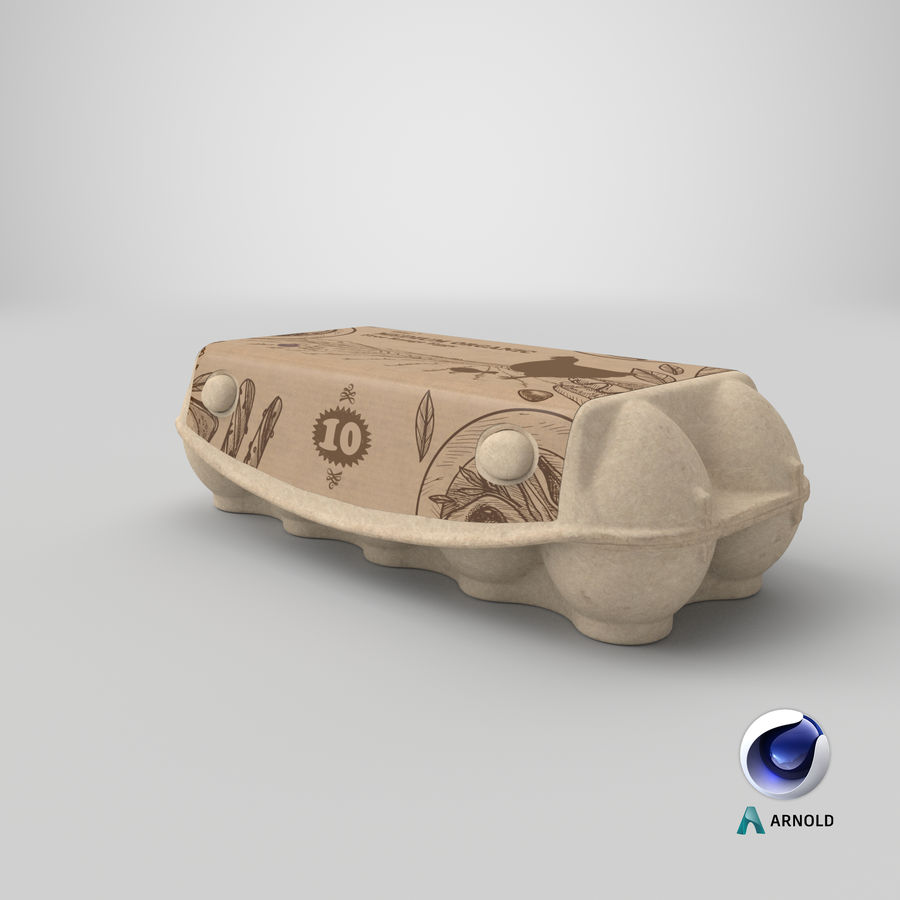Ten Eggs Carton Package Closed royalty-free 3d model - Preview no. 19