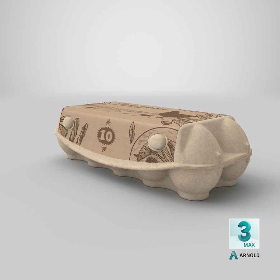 Ten Eggs Carton Package Closed royalty-free 3d model - Preview no. 22
