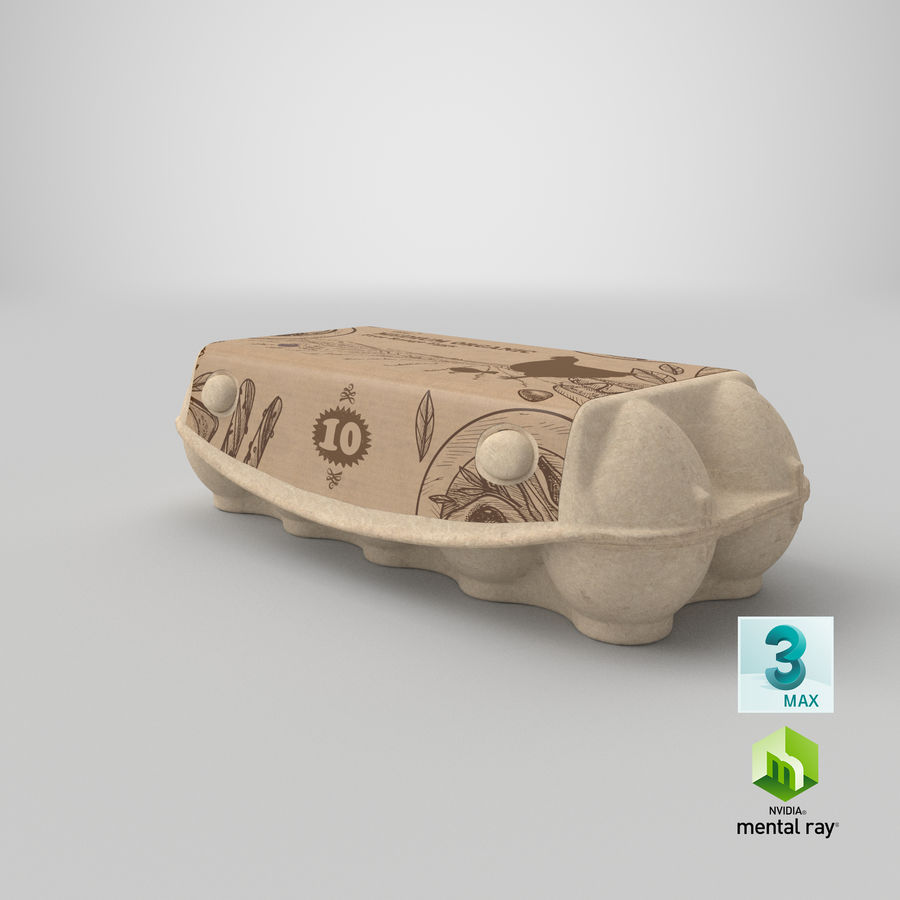 Ten Eggs Carton Package Closed royalty-free 3d model - Preview no. 23