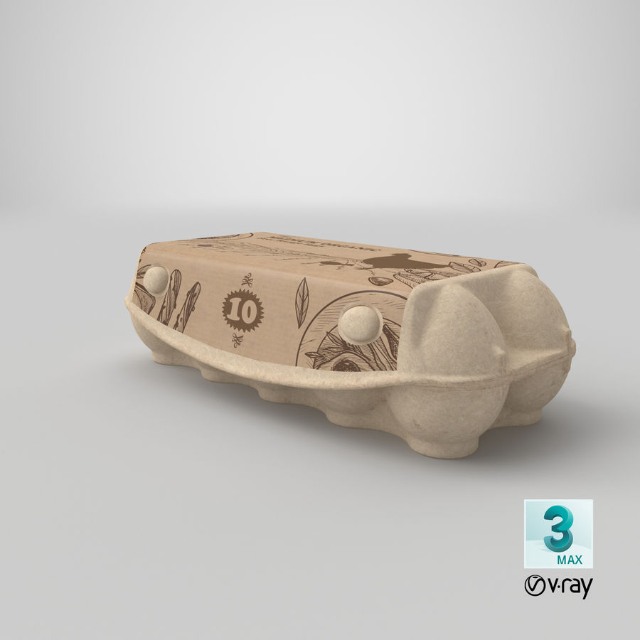 Ten Eggs Carton Package Closed royalty-free 3d model - Preview no. 24