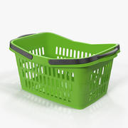 Shopping Plastic Basket with Folded Handles 3D Model 3d model