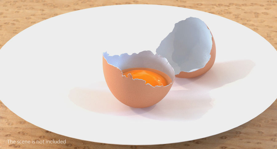 Rozbita skorupa jajka z kurczaka royalty-free 3d model - Preview no. 3