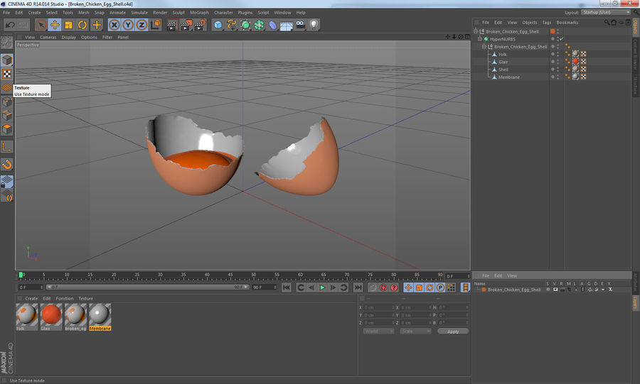 Broken Chicken Egg Shell royalty-free 3d model - Preview no. 13
