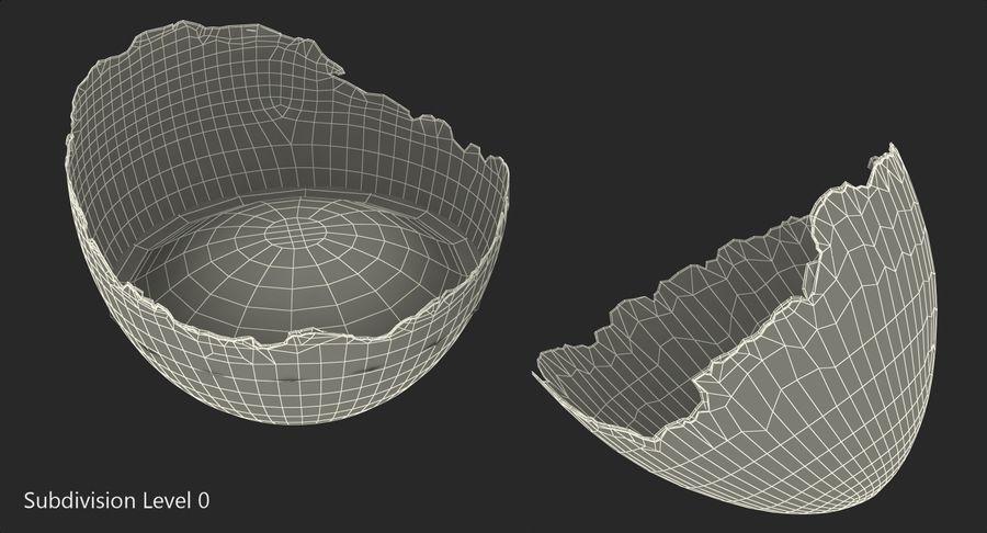 Rozbita skorupa jajka z kurczaka royalty-free 3d model - Preview no. 8