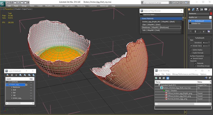 Guscio d'uovo di pollo rotto royalty-free 3d model - Preview no. 14
