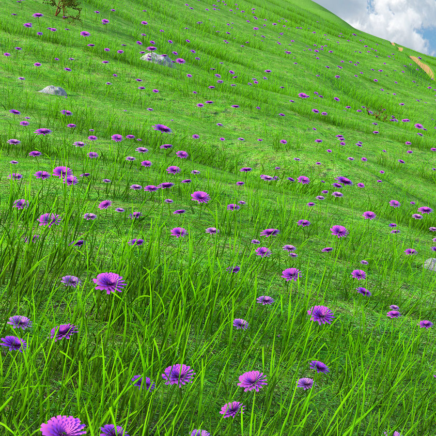Hill Meadow Landscape royalty-free 3d model - Preview no. 6