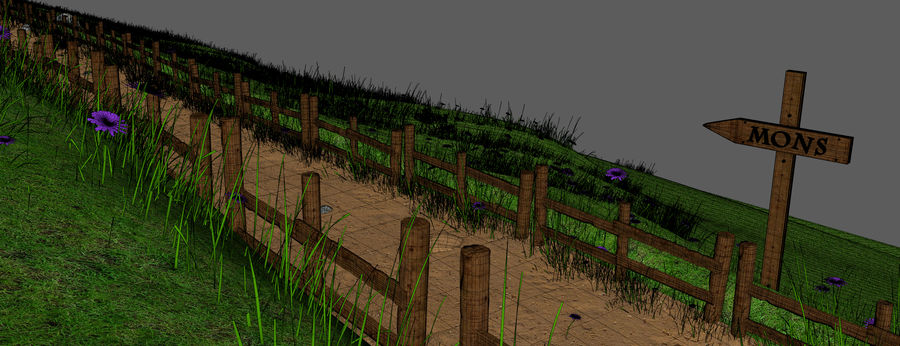 Hill Meadow Landscape royalty-free 3d model - Preview no. 17