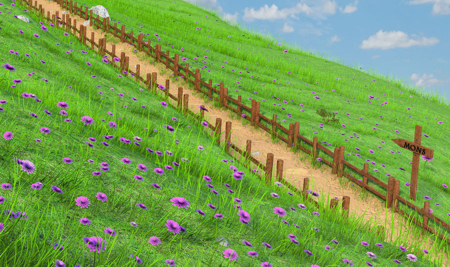 Hill Meadow Landscape royalty-free 3d model - Preview no. 4
