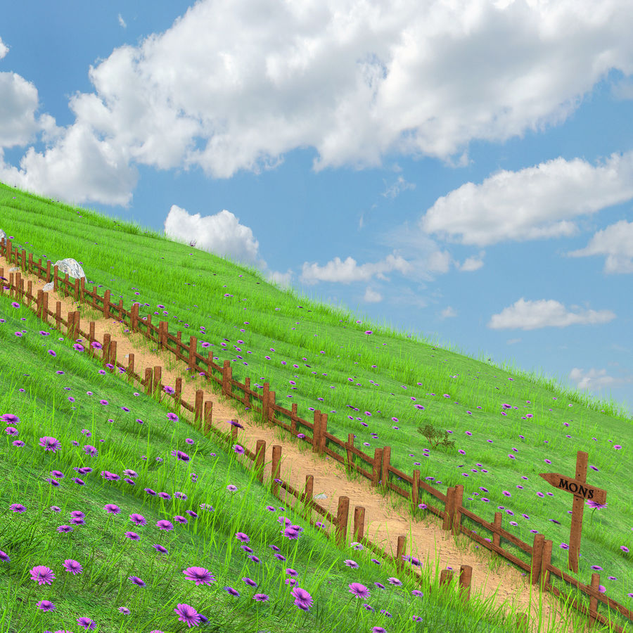 Hill Meadow Landscape royalty-free 3d model - Preview no. 7