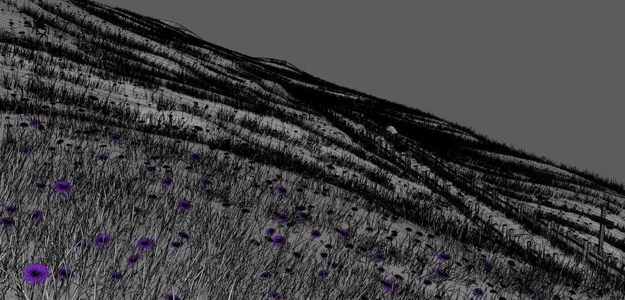 Hill Meadow Landscape royalty-free 3d model - Preview no. 2
