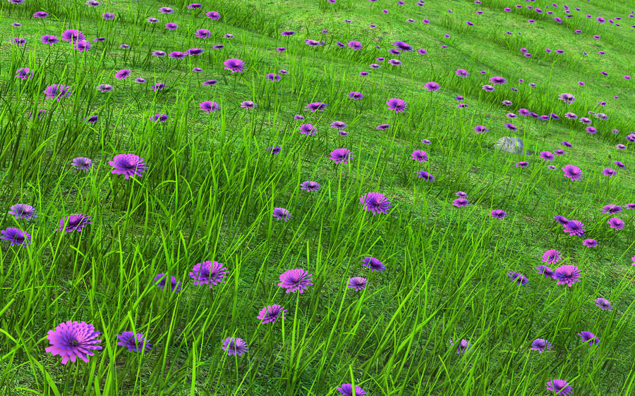 Hill Meadow Landscape royalty-free 3d model - Preview no. 5
