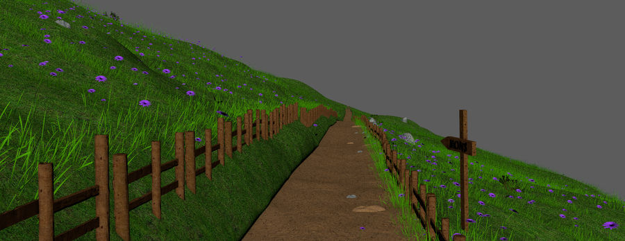 Hill Meadow Landscape royalty-free 3d model - Preview no. 8