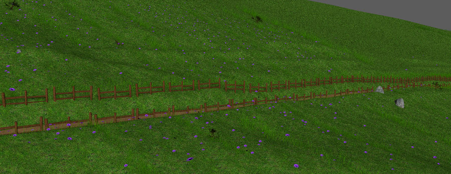 Hill Meadow Landscape royalty-free 3d model - Preview no. 10
