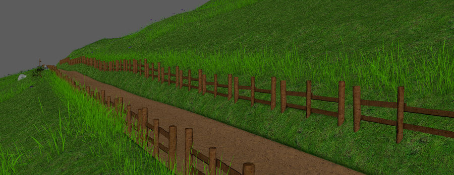 Hill Meadow Landscape royalty-free 3d model - Preview no. 12