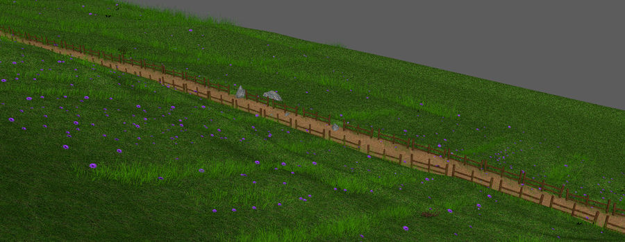 Hill Meadow Landscape royalty-free 3d model - Preview no. 15