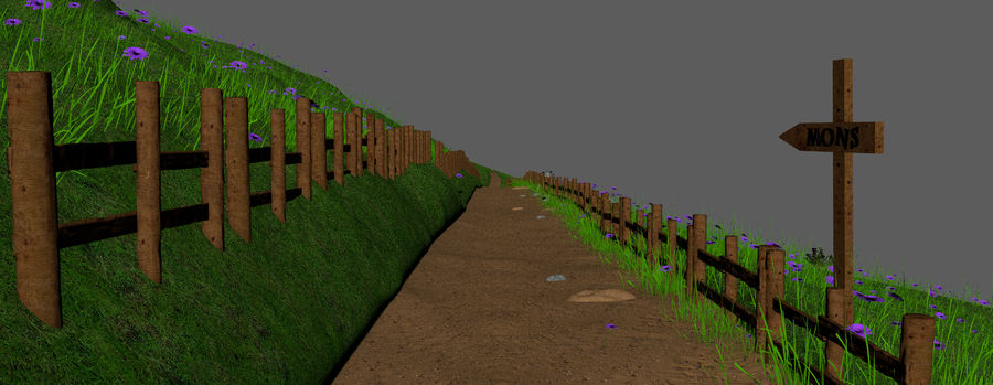 Hill Meadow Landscape royalty-free 3d model - Preview no. 18