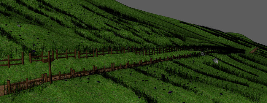 Hill Meadow Landscape royalty-free 3d model - Preview no. 20