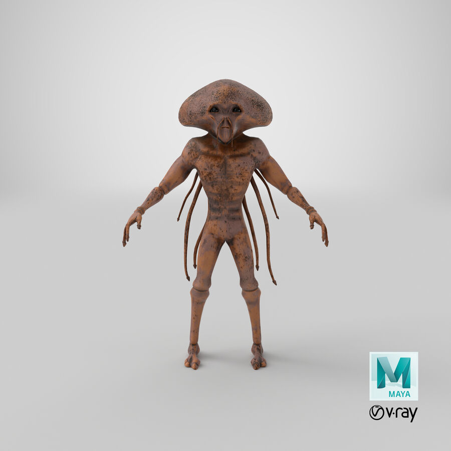 Sci-fi Alien royalty-free 3d model - Preview no. 22