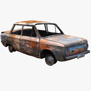 Carro queimado URSS ZAZ 3d model
