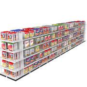 食料品の棚とシリアル 3d model