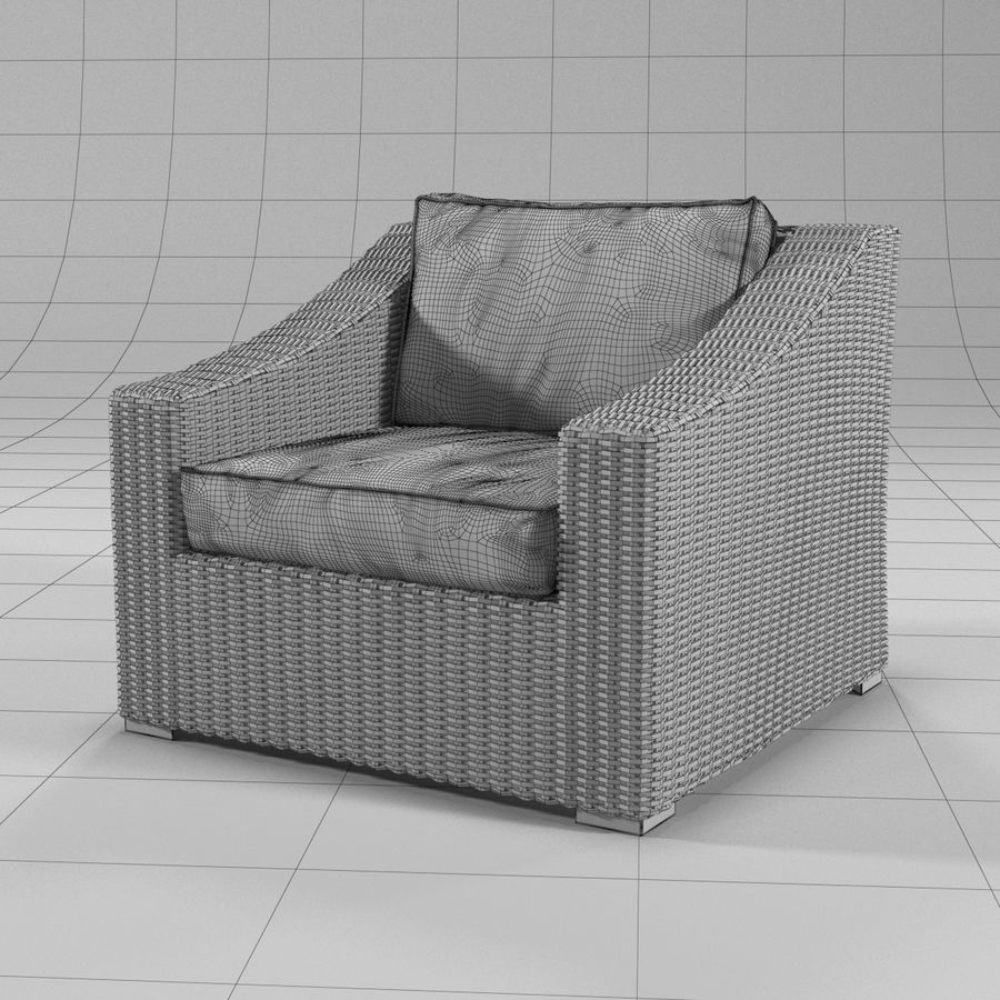 Sillón de ratán royalty-free modelo 3d - Preview no. 6